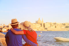 Happy young couple travel in Malta. Europe stock photography
