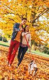 Happy young couple with two cute dogs walking in park Royalty Free Stock Photo