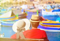 Happy young couple on vacation in Malta. Happy loving couple on vacation in Malta, Europe Stock Photos