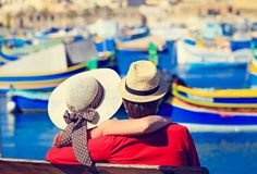 Happy young couple on vacation in Malta. Happy loving couple on vacation in Malta, Europe Stock Photography