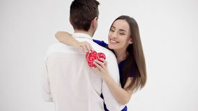 Happy young couple with Valentine`s Day present stock video footage