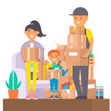 Happy young couple vector flat people moving in new house movement apartment together. Happy young couple moving service stock illustration