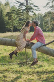 Happy young couple walking in the park Royalty Free Stock Photo