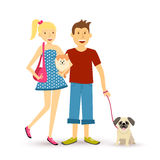 Happy young couple walking with pet dogs illustration Royalty Free Stock Images