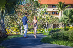 Happy Young Couple Walking Together Royalty Free Stock Image
