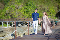 Happy Young Couple Walking Together Stock Photos