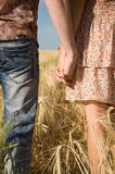 Loving couple holding hands on nature Stock Photo