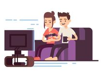 Happy young couple watch TV. Isolated on white background. Vector illustration stock illustration