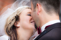 Happy young couple after the wedding stock photography