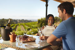 Happy young couple at winery restaurant Royalty Free Stock Photo