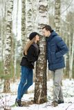 Happy Young Couple in Winter Stock Photo