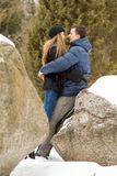 Happy Young Couple in Winter mountains Stock Photos