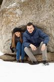 Happy Young Couple in Winter mountains Royalty Free Stock Image