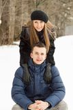 Happy Young Couple in Winter Park having fun Stock Images