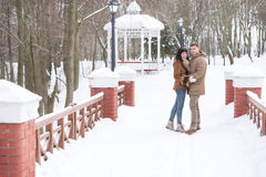 Happy young couple in winter park having fun Royalty Free Stock Photo
