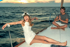 Happy young couple on a yacht Stock Photography