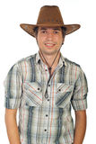 Happy young cowboy with hat. Isolated on white background Royalty Free Stock Photography