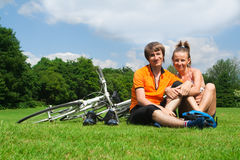 Happy young cyclists Royalty Free Stock Photography