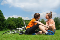 Happy young cyclists Stock Images