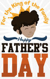 Happy Young Dad with Crown Celebrating Father`s Day, Vector Illustration. Poster with young brunette dad face like a king celebrating Father`s Day stock illustration