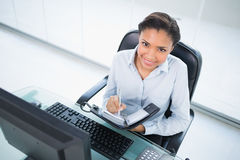 Happy young dark haired businesswoman taking notes on her schedule Stock Images