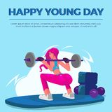 Happy Young Day women gym royalty free illustration