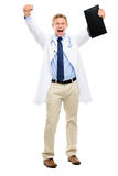 Happy young Doctor celebrating success isolated on white backgro Royalty Free Stock Photos