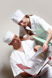 Happy young doctor and a nurse at the hospital Royalty Free Stock Images