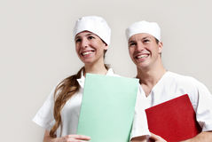 Happy young doctor and a nurse at the hospital Stock Images