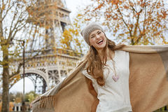 Happy young elegant woman in Paris, France having fun time Stock Photo