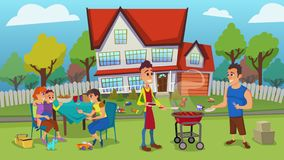 Happy Young Families Have Outdoors Leisure in Yard
