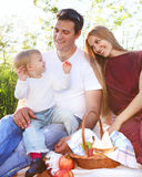 Happy young family. Outdoors on spring picnic Stock Image