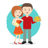 Happy young family with a baby and gift flat style vector Royalty Free Stock Photos