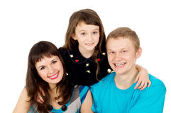 Happy young family with a child girl Stock Photo