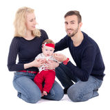 Happy young family - father, mother and daughter sitting isolate Stock Image