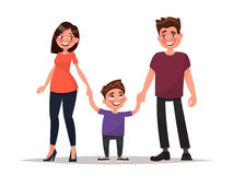 Happy young family. Father, mother and son hold hands. Vector il. Lustration of a modern design vector illustration