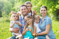 Happy young family with four children outdoors Royalty Free Stock Photography
