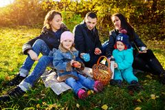 Happy young family of four having picnic at meadow at summer day stock photography