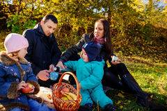 Happy young family of four having picnic at meadow at summer day. Young family of four having picnic at meadow at summer day Stock Image
