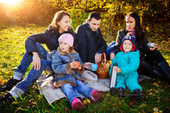 Happy young family of four having picnic at meadow at summer day royalty free stock image