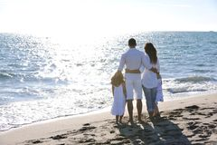 Happy young  family have fun on beach Royalty Free Stock Photo
