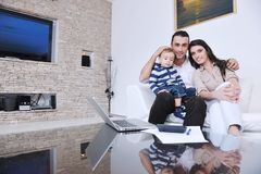 Happy young family have fun  at home Royalty Free Stock Photography