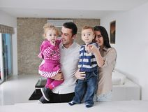 Happy young family have fun  at home Royalty Free Stock Images