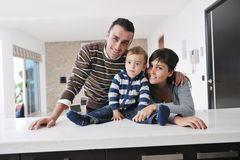 Happy young family have fun  at home Royalty Free Stock Photos