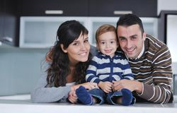 Happy young family have fun  at home Stock Photography