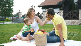 Happy young family having a picnic on the lawn stock video footage