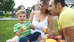 Happy young family having a picnic on the lawn stock footage