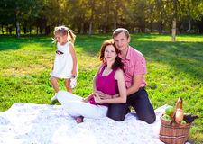 Happy young family having picnic at meadow Royalty Free Stock Photo