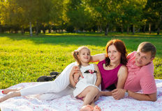 Happy young family having picnic at meadow Stock Images