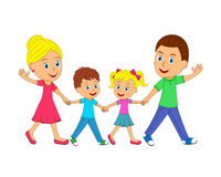 Happy young family holding hands and go Royalty Free Stock Photo